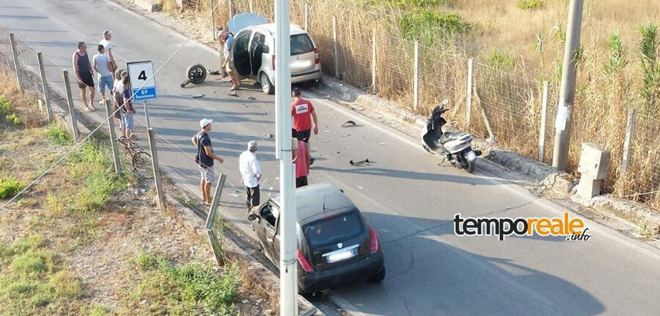 Minturno / Frontale a Pantano Arenile, tre feriti