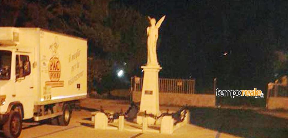 Minturno / Rubata panchina di marmo in Piazza Padre Ismaro Benedetti