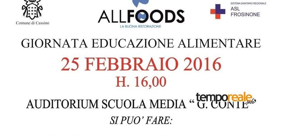Cassino / Educazione alimentare: una giornata rivolta ad alunni, famiglie ed insegnanti