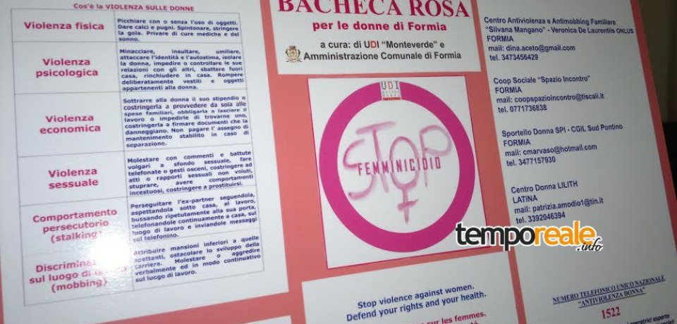 """Formia / Violenza sulle donne, arriva la 'Bacheca rosa'. Menanno: """"Uscire dal tunnel si può"""""""