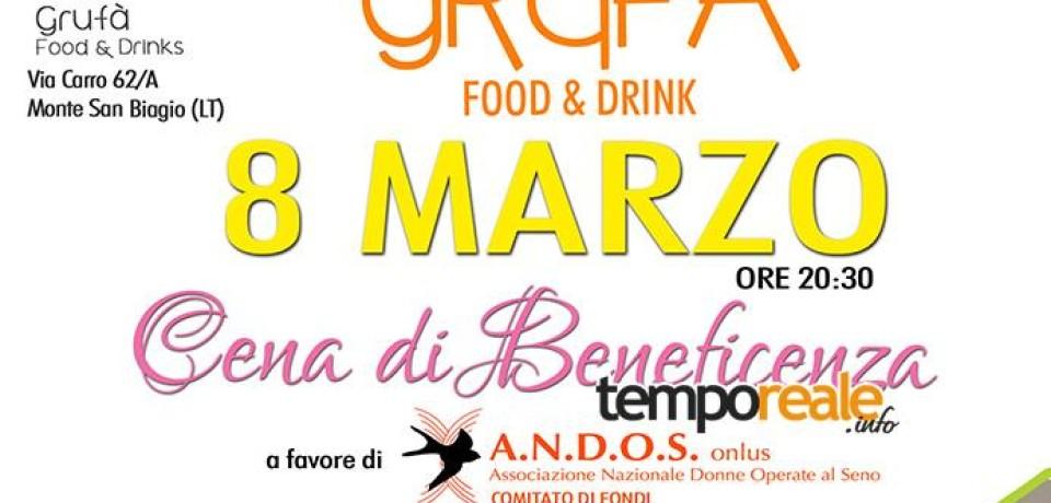 Monte San Biagio / 8 Marzo, cena di beneficenza in favore dell'ANDOS ONLUS contro il cancro al seno