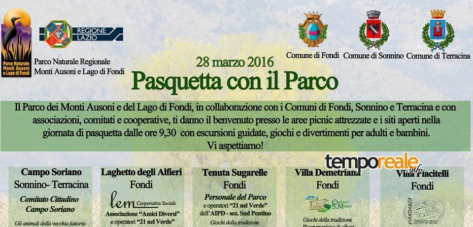 """Fondi / Lunedì 28 marzo l'iniziativa """"Pasquetta con il Parco"""""""