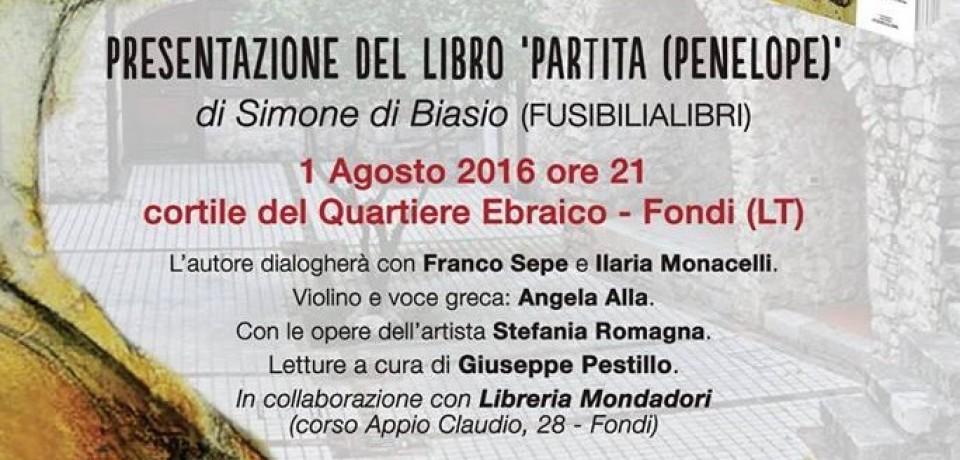 """Fondi / """"Partita"""", lunedì 1 agosto la presentazione del libro di Simone Di Biasio"""