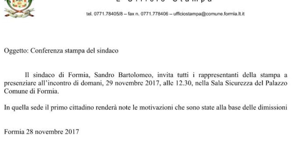 Formia / L'ufficio stampa del Comune invita alla conferenza di commiato del sindaco Bartolomeo
