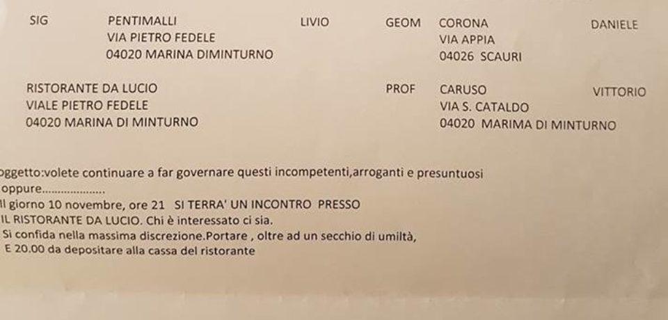 Minturno / Riunione di politici del centrodestra ma è un fake: mistero sulla lettera di convocazione