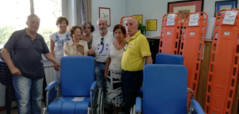 """Formia / Avo, donate 5 sedie a rotelle e tavole spinali all'Ospedale """"Dono Svizzero"""""""