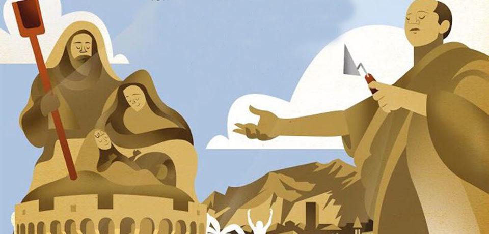 Formia / Presepe di Cicerone fatto con la sabbia in Piazza della Vittoria